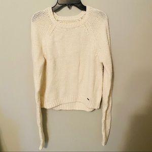 🍒 Hollister White Knit Sweater Medium
